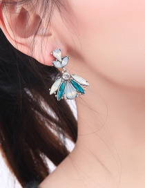 Fashion Blue 925 Silver Needle Drop Diamond Stud Earrings