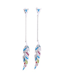 Fashion Silver Drip Oil And Diamond Feather Stud Earrings