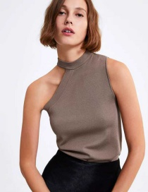 Fashion Gray Card One-sided Off-shoulder Sleeveless Knit Top