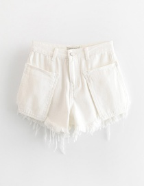 Fashion White Pocket Valgus Denim Shorts