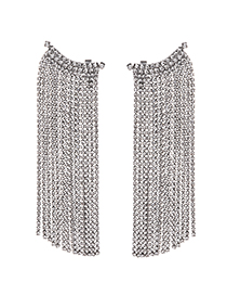 Fashion Silver Alloy Studded Tassel Earrings