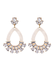 Fashion White Alloy Studded Resin Oval Stud Earrings
