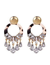 Fashion Black Alloy Diamond-studded Round Earrings