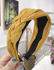 Fashion Yellow Cloth Handmade Twist Side Knotted Wide-brimmed Headband