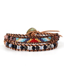 Fashion Colored Beads Black Rope Woven Antique Jewel Stone Double-layer Bracelet