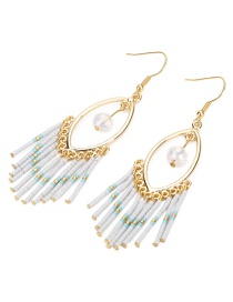 Fashion White Gold-plated Chain Earrings