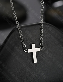 Fashion Steel Color Glossy Cross Clavicle Chain