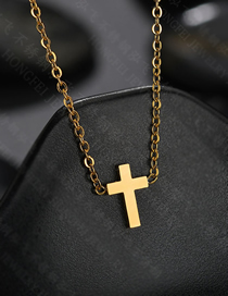 Fashion Gold Glossy Cross Clavicle Chain