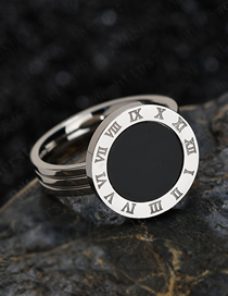 Fashion Steel Black Shell 18k Rose Gold Shell Roman Numeral Ring