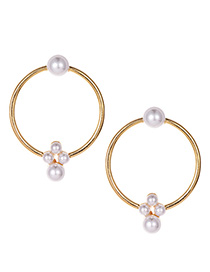 Fashion Gold Alloy Circle Pearl Stud Earrings