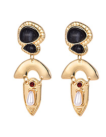 Fashion Black Alloy Resin Irregular Shape Earrings