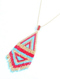 Fashion Red + Chain Rice Beads Woven Tassel Necklace
