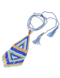 Fashion Blue + Rope Rice Beads Woven Tassel Necklace