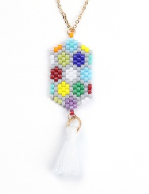 Fashion White Tassel Eye Woven Necklace