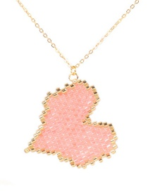 Fashion Pink Weaving Love Heart Plated Gold Necklace