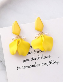 Fashion Yellow Silver Needle Petal Earrings