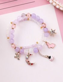 Fashion Purple Cartoon Rabbit Ladybug Crystal Agate Stone Double Beaded Bracelet