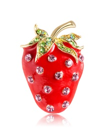 Fashion Red Alloy Drop Oil And Diamond Brooch