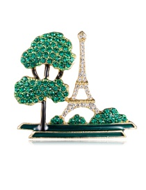 Fashion Green Alloy Dripping Oil-studded Tree Construction Brooch