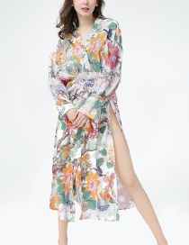 Fashion Color Flower And Bird Print Kimono Shawl