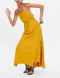 Fashion Yellow Split Dress