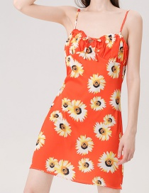 Fashion Color Sun Flower Wrap Chest Dress