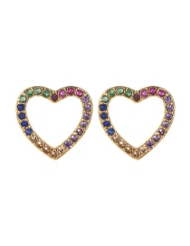 Fashion Gold Copper Inlay Zircon Love Earrings