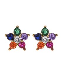 Fashion Gold Copper Inlaid Zircon Flower Earrings