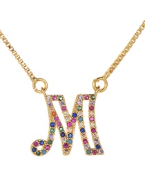 Fashion Gold Copper Inlaid Zircon Hollow Letter M Necklace