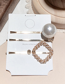 Fashion Square Three-piece Pearl Belt Drill Small Hairpin Set