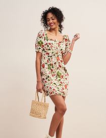Fashion Creamy-white Strawberry Print Dress