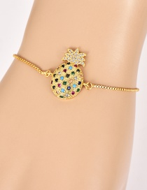 Fashion Gold Copper Inlaid Zircon Pineapple Bracelet