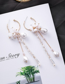 Fashion Gold Pearl Crystal Flower Tassel Earrings