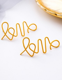 Fashion Yellow Irregular Hollowed Out Letters Love Line Earrings