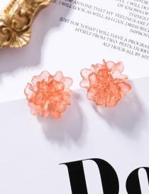 Fashion Orange 925 Silver Transparent Texture Acrylic Stereo Flower Earrings