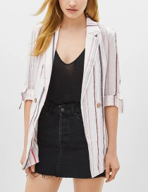 Fashion Stripe Roll Sleeve Suit