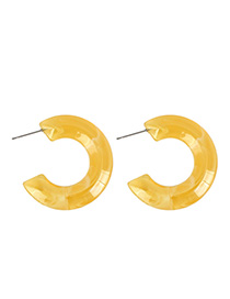 Fashion Yellow Transparent Jelly C-shaped Acrylic Earrings