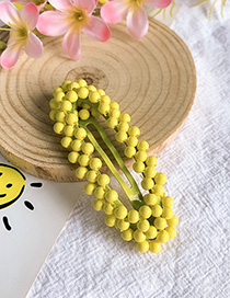 Fashion Yellow Alloy Resin Oval Hollow Hairpin