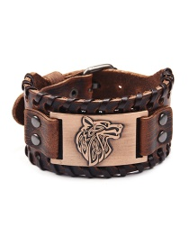 Fashion Ancient Red Copper Wolf Head Wide Leather Bracelet Alloy