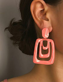 Fashion Pink Geometric Drip Earrings