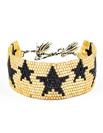 Fashion Golden Five-pointed Star Rice Beads Woven Bracelet
