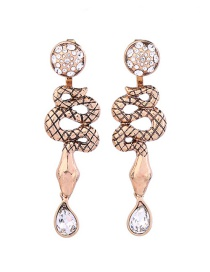 Fashion Gold Snake Dripping Irregular Diamond Stud Earrings