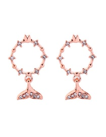 Fashion Rose Gold Small Fish With Diamond Stud Earrings