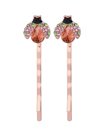 Fashion Rose Gold Drops Of Oil Ladybug Hairpin