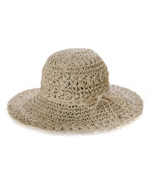 Fashion Beige Straw Shackle Foldable Sun Hat