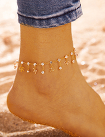 Fashion Silver Round Water Drop Bow With Diamond Alloy Anklet