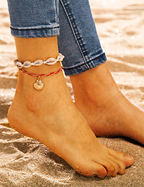 Fashion Shell Red Rope Wrapped Shell Clamshell Alloy Anklet