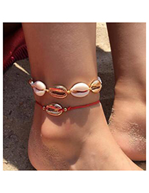Fashion Gold Small Red Rope Ball Shell Alloy Anklet