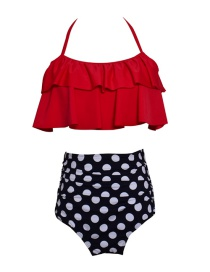Fashion Adults Get Red And White Printed High-waist Ruffled Parent-child Swimsuit