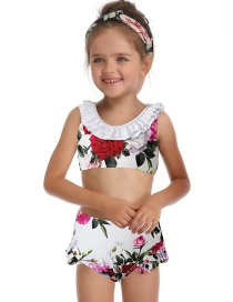 Fashion Children's White Piece Print Parent-child One-piece Swimsuit
